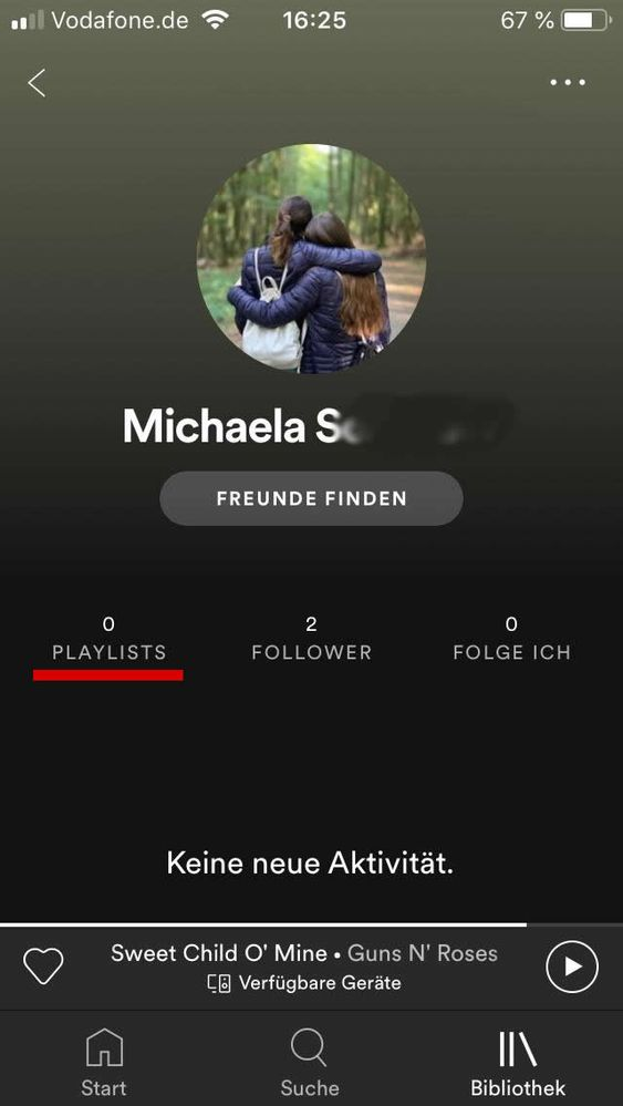 This is the profile. 0 Playlists (!)