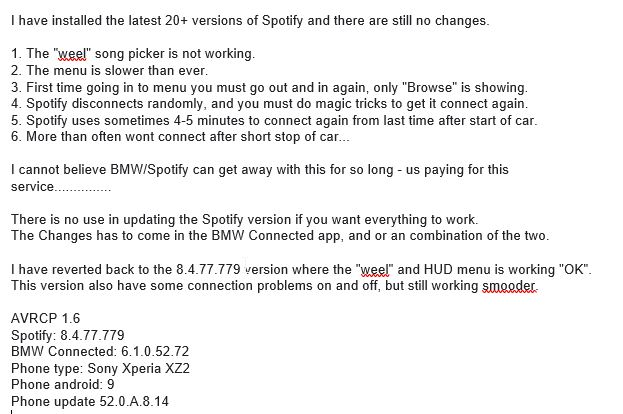 BMW ConnectedDrive not working - Page 2 - The Spotify Community