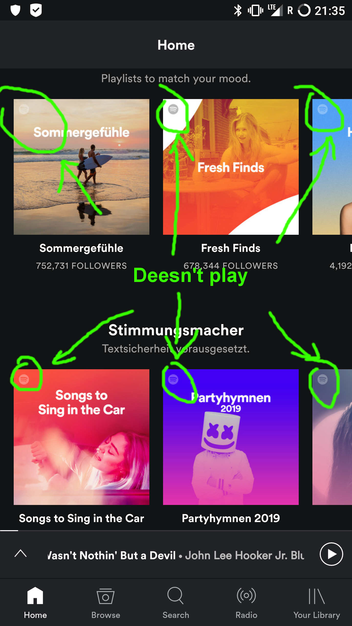 Solved: Can't play Playlists from Home Screen - The Spotify