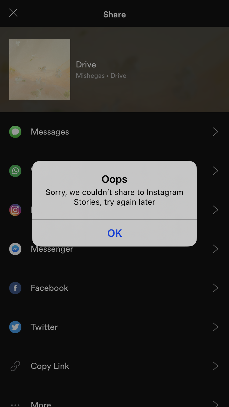 spotify not sharing to instagram stories