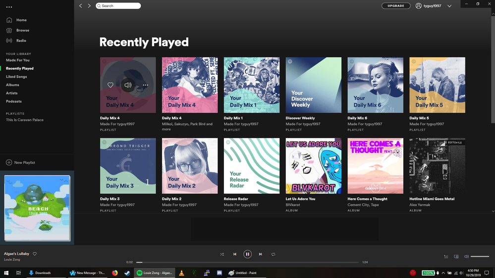 An image capture of the newer daily mix having multiple options from recently played.