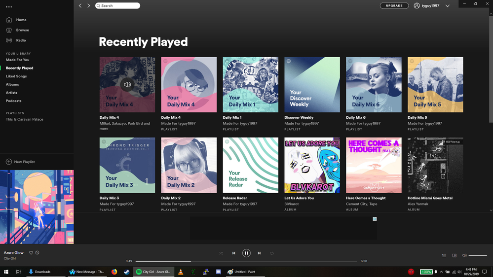 An image capture of the older daily mix not having a ... bubble option to provide a link to to playlist.