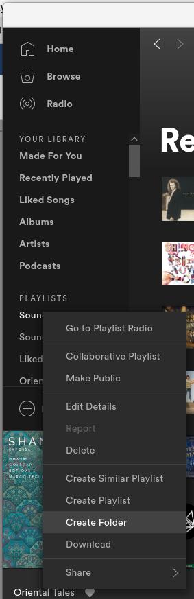 Create folder in Spotify Linux