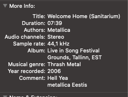 Metallica in Finder info