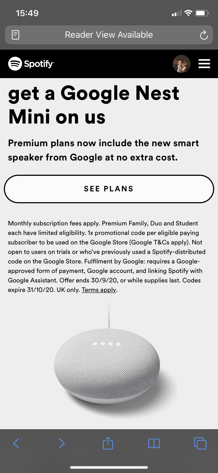 Spotify nest mini code