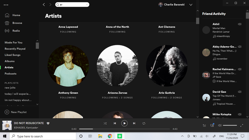 my Library, where Arctic Monkeys are absent between An- and Ari-