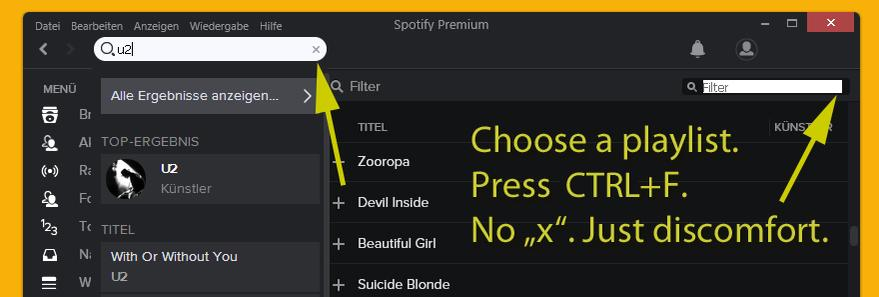 Clear / reset x button for playlists