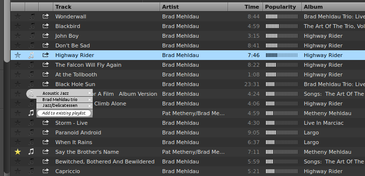 In playlist icon and right click menu