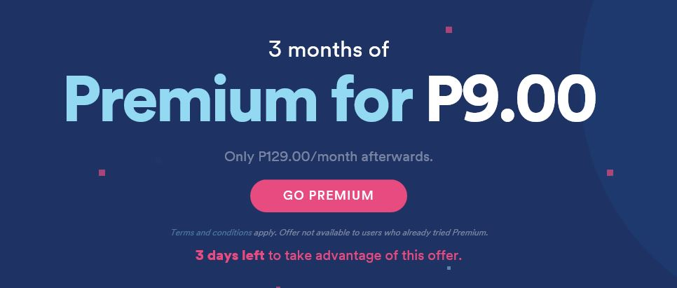 Spotify Premium promo subscription 3 months for Ph    - The Spotify