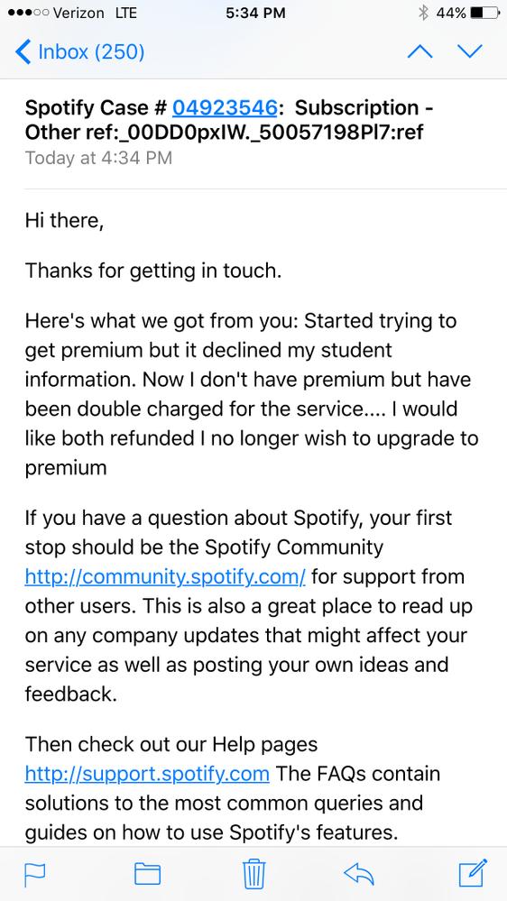 Worst customer service- no refund/no premium - The Spotify Community