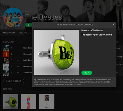 Beatles Cufflink offer