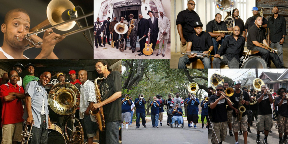 Listen to funky New Orleans brass bands...
