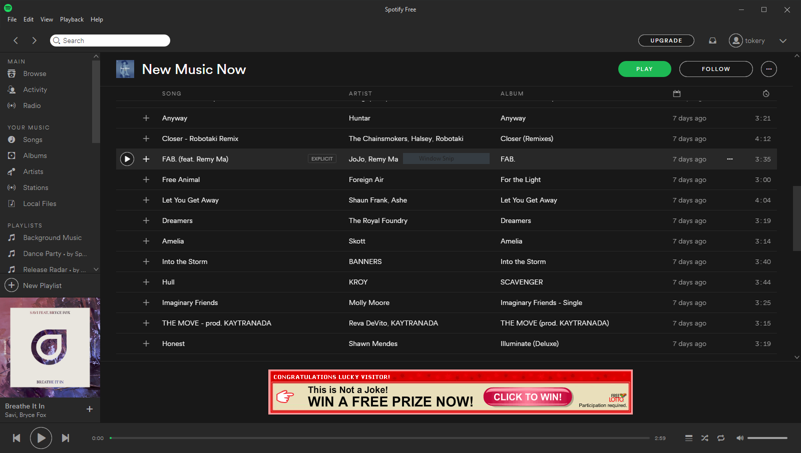 Spotify Free (ads) causes browser to launch on malware