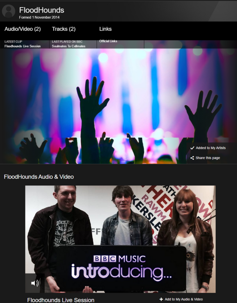BBC Artists page with Soulmates on it.png
