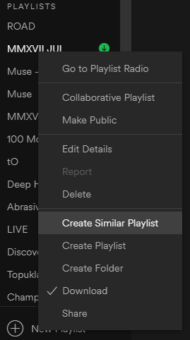 Create similar playlist not working - The Spotify Community