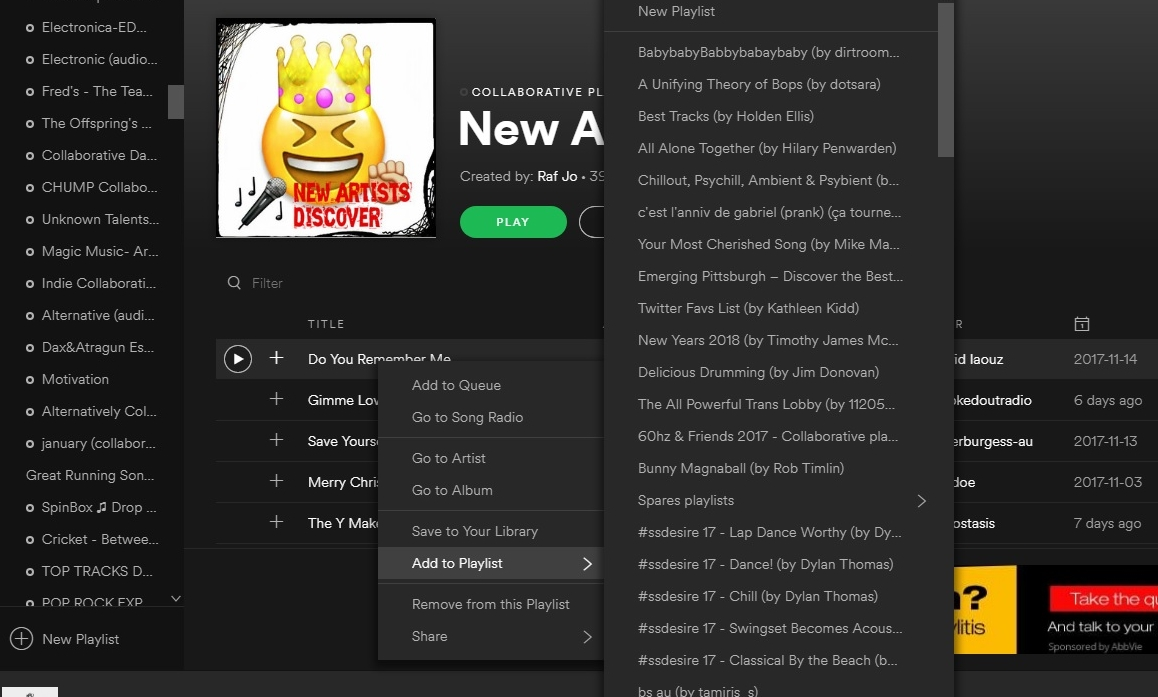How to add songs to spotify playlist that isnt yours