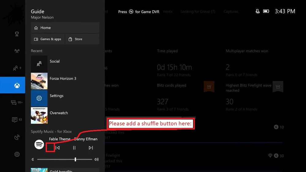XBOX ONE: Spotify app and quick spotify side menu     - The