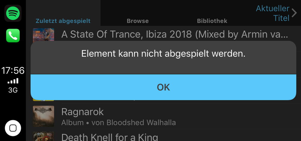 Error message for recently played