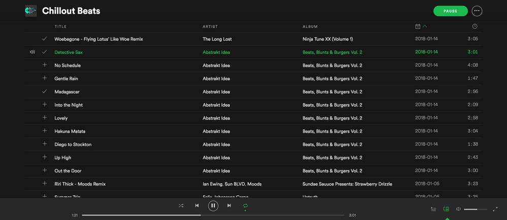 (#1 Playlist )  - Playlist, playing song in middle of list, with shuffle OFF.