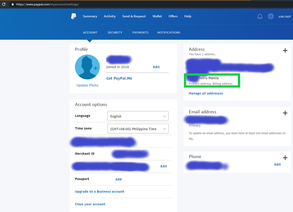 Account Paypal