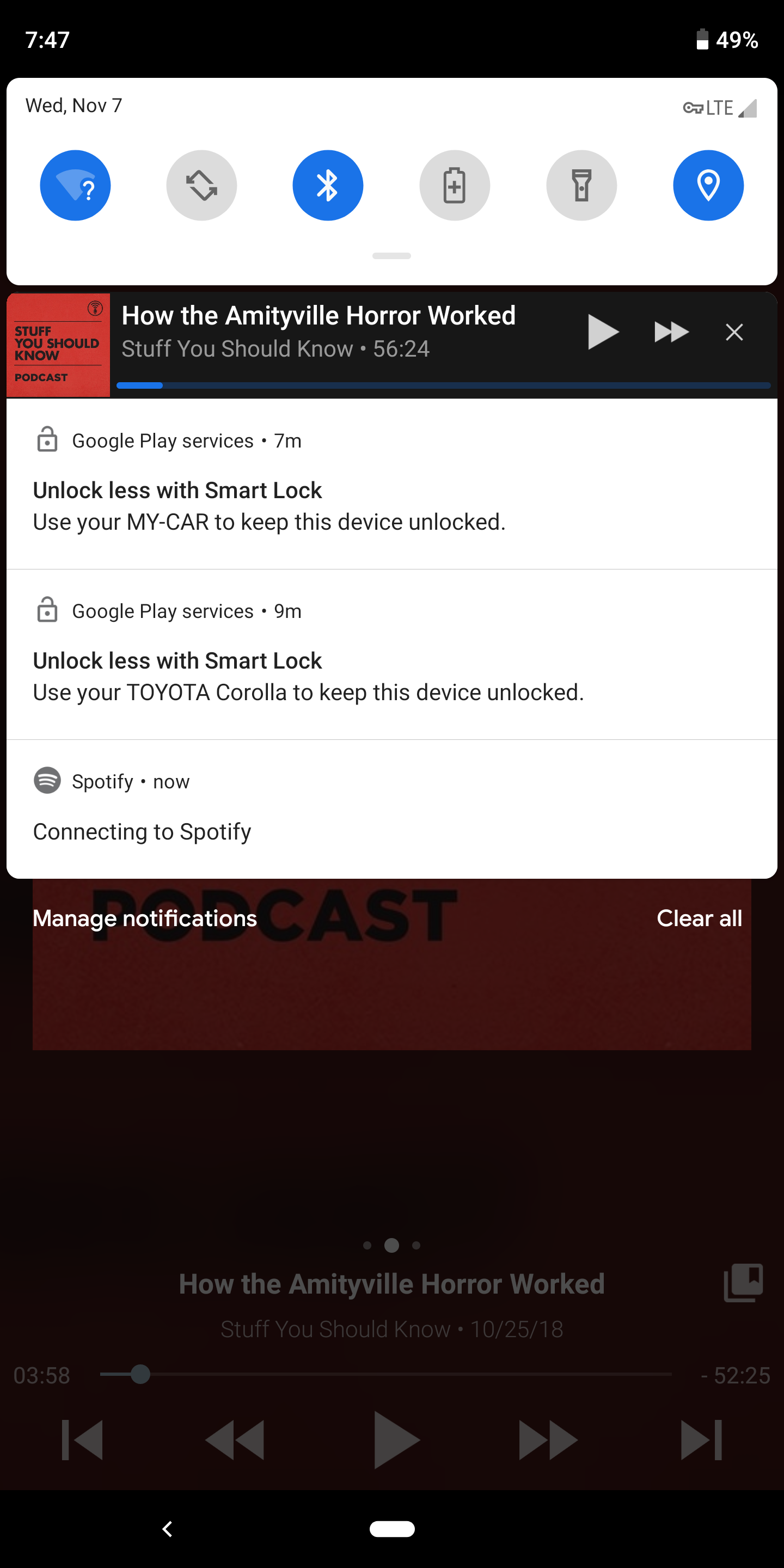 Connecting to spotify     in Android Notification - The