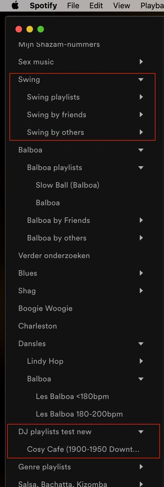 After just restarting Spotify you can see that the folder 'Swing' does expand properly and shows it subfolders again.