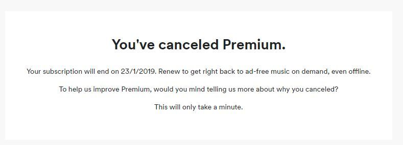 This was what I saw after cancelling my premium. I thought it was okay.