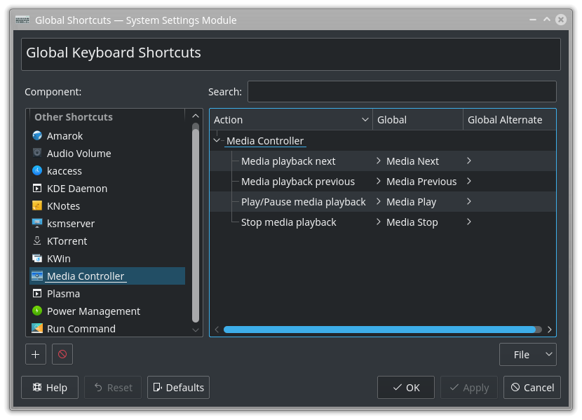 Global Keyboard Shortcuts / Media Controller
