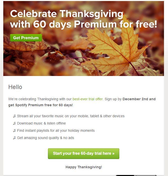 spotify premium 60 day free trial