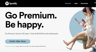 Free Premium Trial. Choose the Free Option of Spotify and you'll be offered a free 30 day trial of Spotify Premium on the download screen. Excludes - Payment information required.