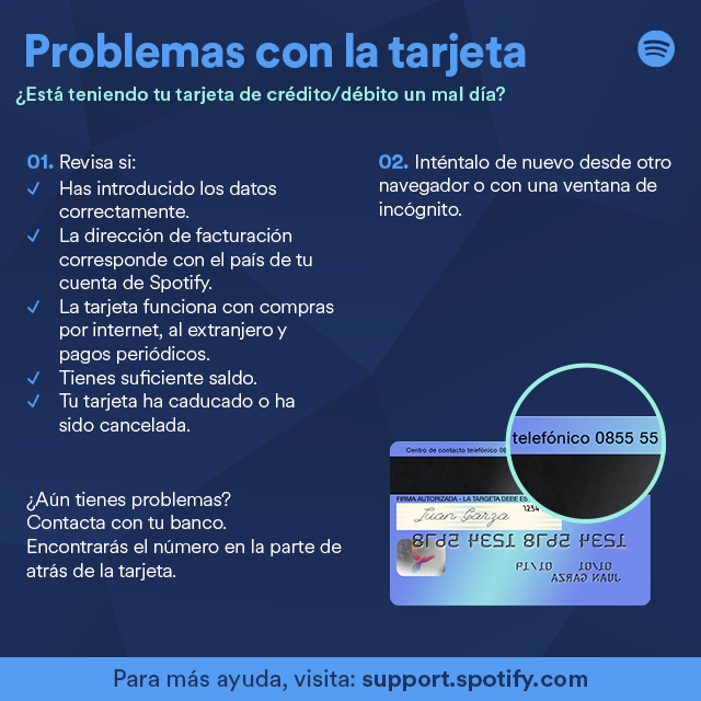 QUIERO CAMBIAR MI FORMA DE PAGO Y NO ME DEJA EL SI... - The Spotify ...