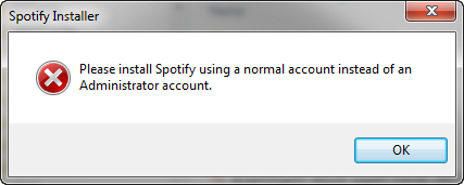 cannot install spotify administrator