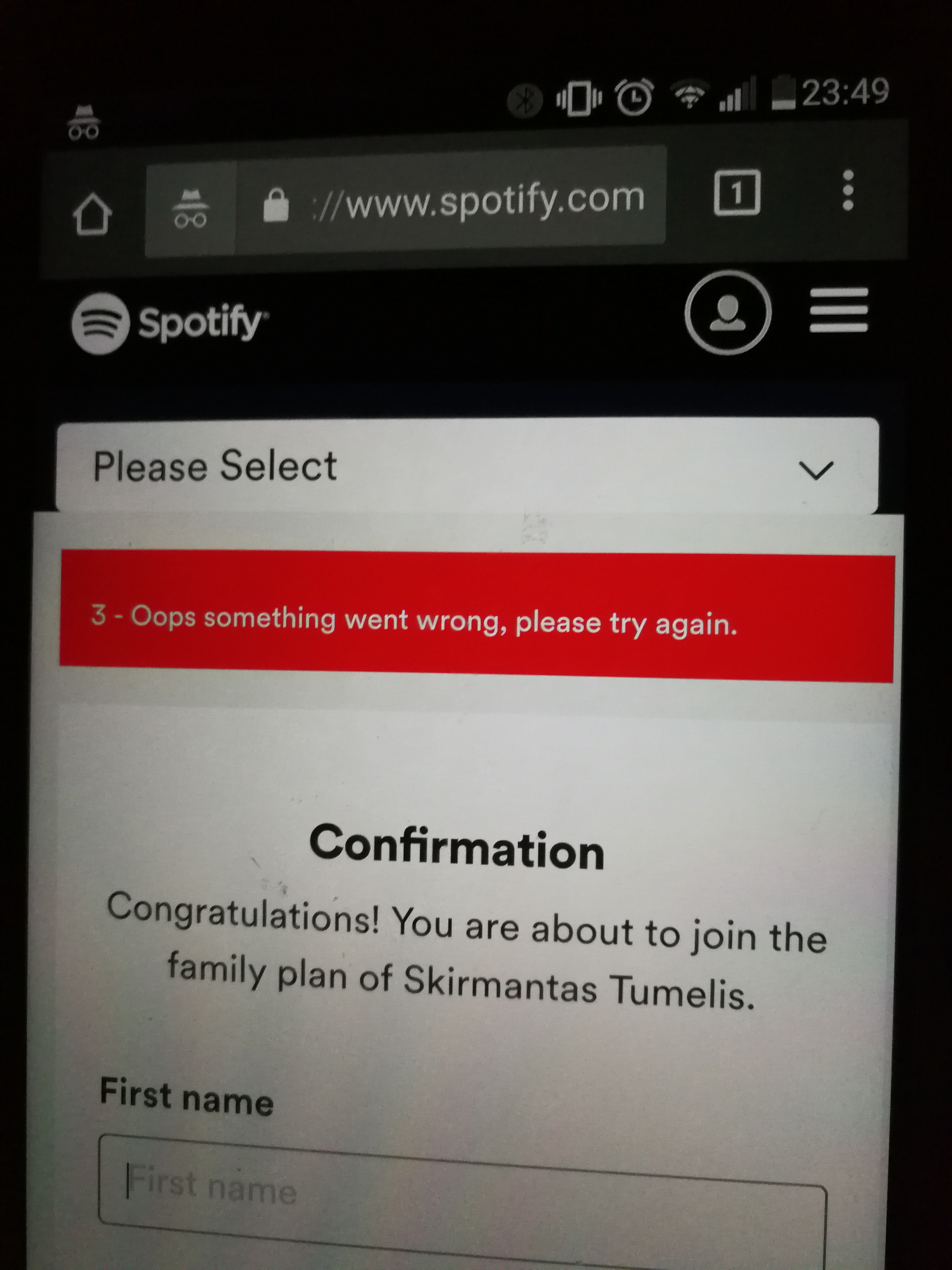 Solved Invited family member cannot redeem The Spotify Community