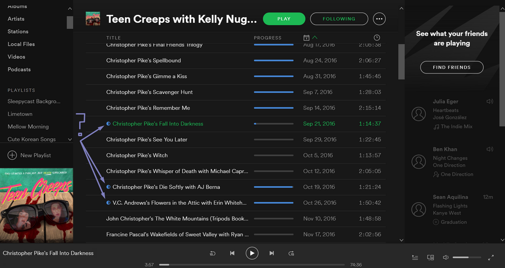 Solved Half Blue Dots In Podcasts List Of Episodes The Spotify
